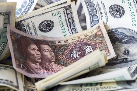 chinese american ethnicity: Yuan among dollar bills