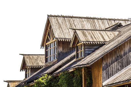 attic window: Attic window of a wooden house Stock Photo