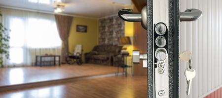 view through door: View living room through open door Stock Photo