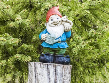 lawn gnome: Little garden gnome figurine standing on a tree stump in the backyard Stock Photo