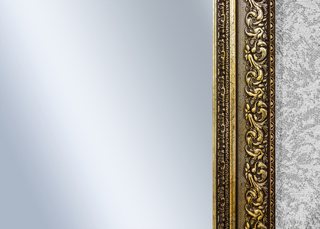 mirror frame: Part of the ornate, carved mirror frame in ancient style Stock Photo