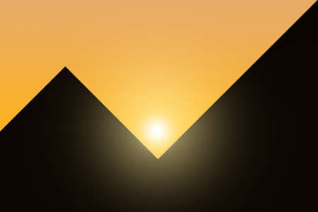 egyptian pyramids: The contours of the Egyptian pyramids against the setting sun