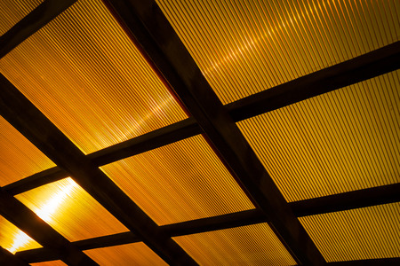 polycarbonate: The roof of the veranda of orange polycarbonate