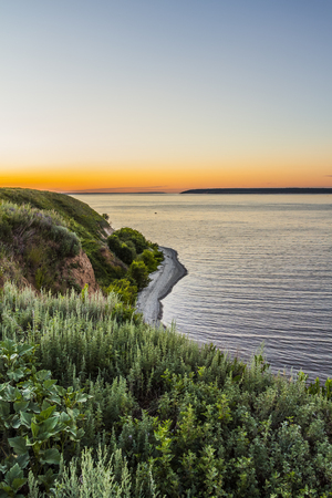 the volga river: Beautiful landscape of the evening sunset on the sea Stock Photo