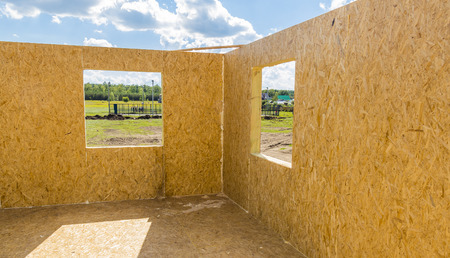 sip: Part of a wooden being built house from SIP panels.