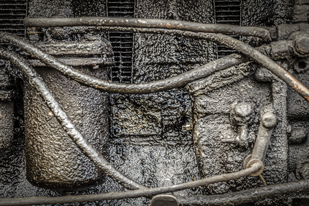 very dirty: Old, very dirty, rusty diesel engine closeup. Stock Photo