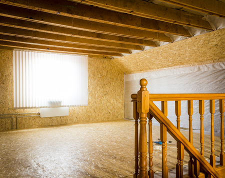 개인 주택 2 층 수리. 스톡 콘텐츠