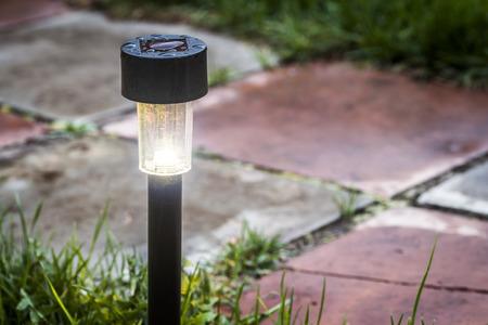 緑の芝生のクローズ アップの庭 LED ライト。