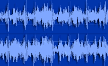 Shape of sound waves on a blue background. Stock Photo