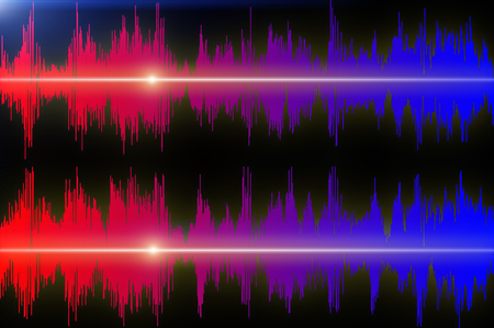 Colored sound waves oscillating on black background closeup.
