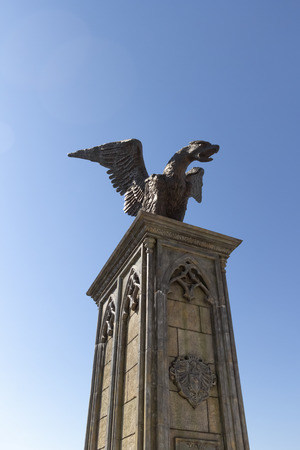 Bronze statue of a formidable eagle-dragon in the style of Gothic.