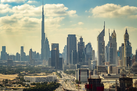 Dubai, UAE - November 28, 2018: View of the city from the top of the famous Dubai Frame, located in Zabel Park.