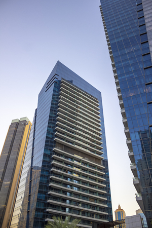 Modern Dubai architecture. Dubai Marina district. November 2018.