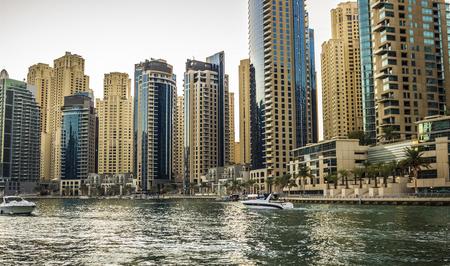 Modern Dubai architecture. Dubai Marina district.
