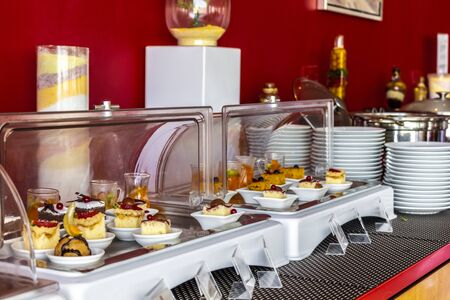 Sweet food is served at the hotel's buffet. Stok Fotoğraf