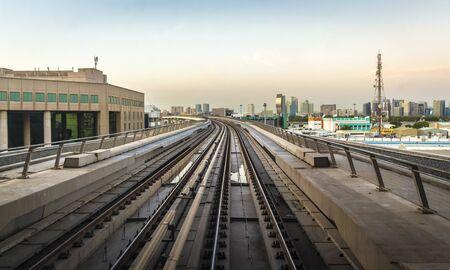 Rail tracks subway Dubai, leaving the distance. Stock fotó