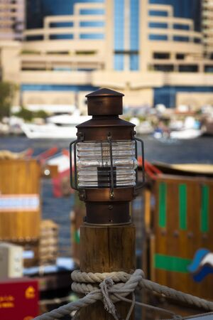 Marine marker lamp at the city pier. Stok Fotoğraf