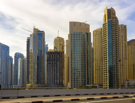 High-rise houses of modern futuristic design of Dubai Marina district. Stockfoto
