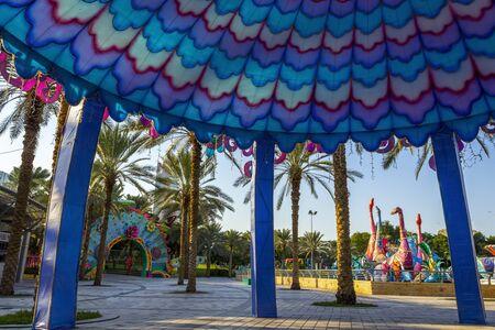 Dubai, UAE - December 3, 2018: In the territory of the dinosaur park of Dubai. Zabeel District. Editorial
