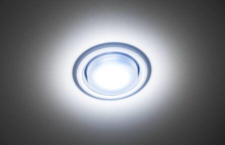 Recessed ceiling led lamp of white light close-up. 版權商用圖片