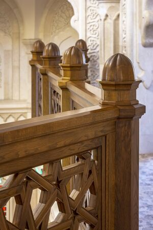 Railings in the Arabic style inside the mosque. Stockfoto