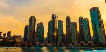 Dubai, UAE - November 28, 2018: Downtown Dubai district. View of the singing fountains.