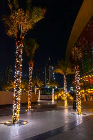 Walk through the night streets of Dubai.
