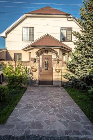 Porch of a private brick country house. Reklamní fotografie