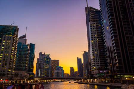 Dubai, UAE - November 29, 2018: High-rise houses of modern futuristic design of Dubai Marina district.