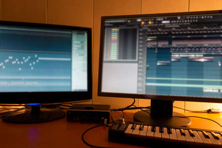Workplace in a small home music studio.