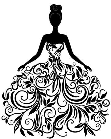 Vector silhouette of young woman in elegant wedding dress Çizim
