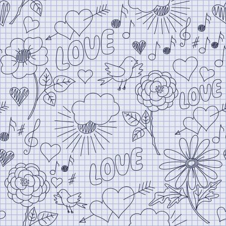 Ručně kreslená legrační bezešvé vzor v dětském stylu na čtvercový notebooku listu
