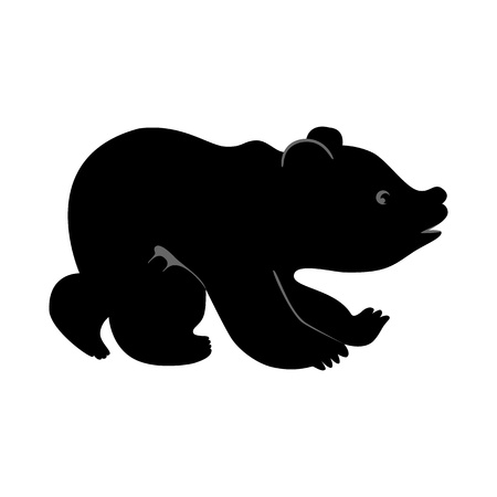 Vector silhouette of cute funny little bear Illustration