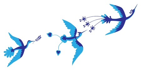 Kouzelné modré ptáky Ilustrace