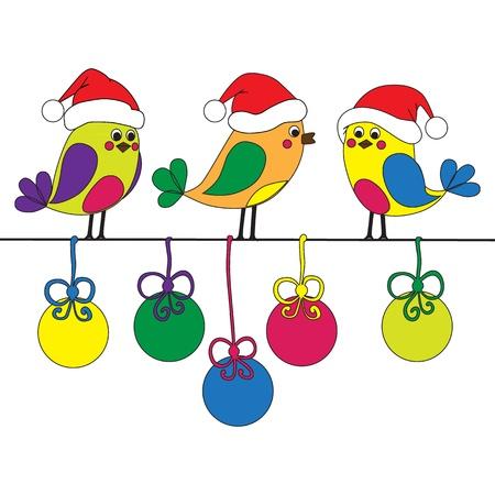 Ruka-natažený funny christmas ptáci Ilustrace