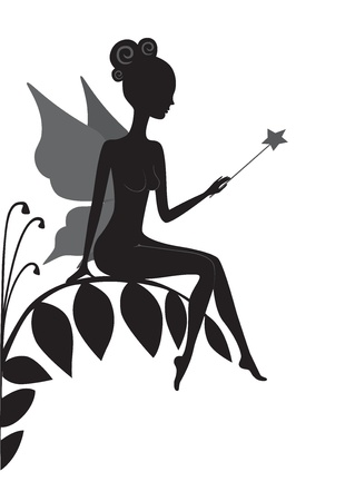 fairy wand: Silhouette of magic fairy Illustration