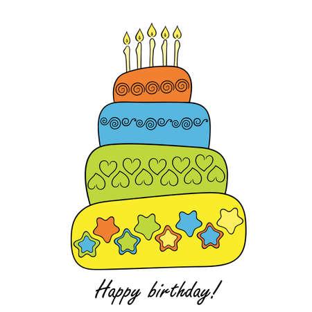 Všechno nejlepší k narozeninám karta s dortem Ilustrace