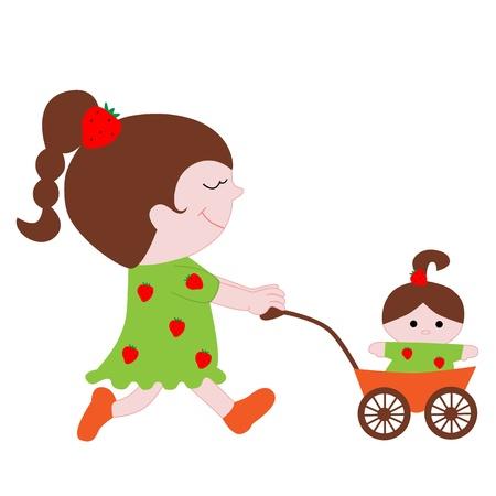 krásná holčička s panenkou v kočárku