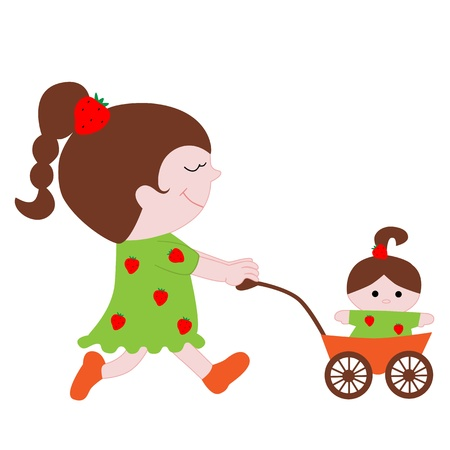lovely little girl with a doll in the stroller Illustration
