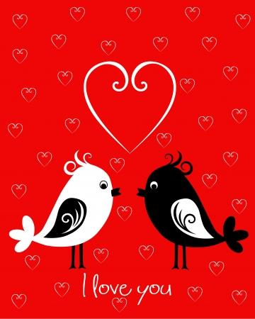 Šťastný Valentines Day karta s ptáky Ilustrace