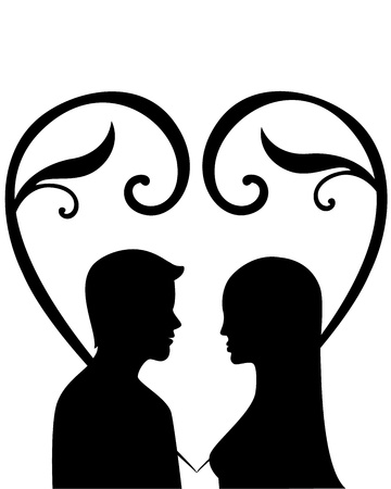 Silhouette of a woman and men in love  Illustration
