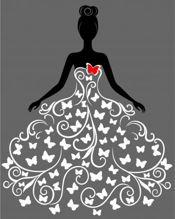 ankleiden: Silhouette der jungen Frau im Kleid
