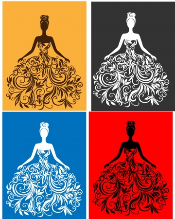 silhouette of young woman in a dress Vector