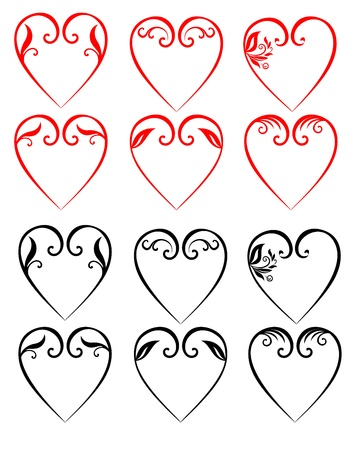 illustrations of decorative hearts