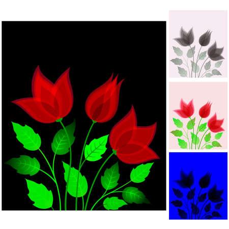 Červené květy Ilustrace