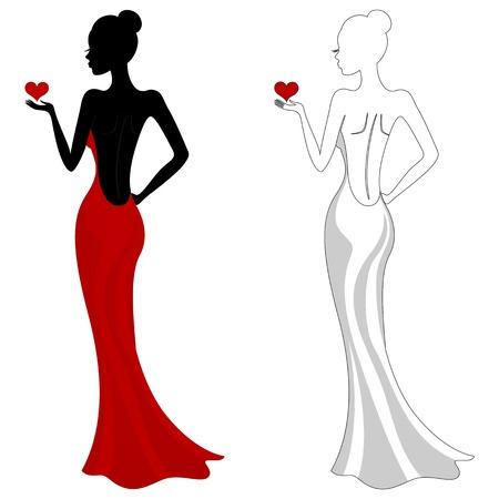 ankleiden: Sch?ne M?dchen in einem roten Kleid Illustration