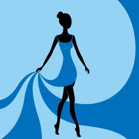 Beautiful girl in a blue dress Illustration