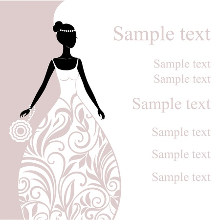 bridal shower: Illustration of a beautiful young bride  Illustration