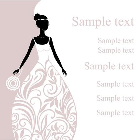 Ilustrace krásná mladá nevěsta