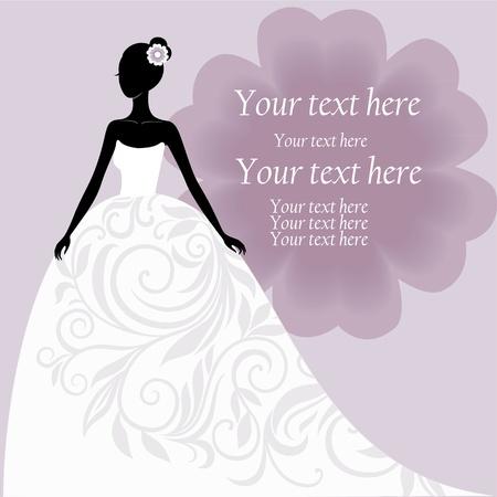 Nevěsta v bílých svatebních šatech Ilustrace